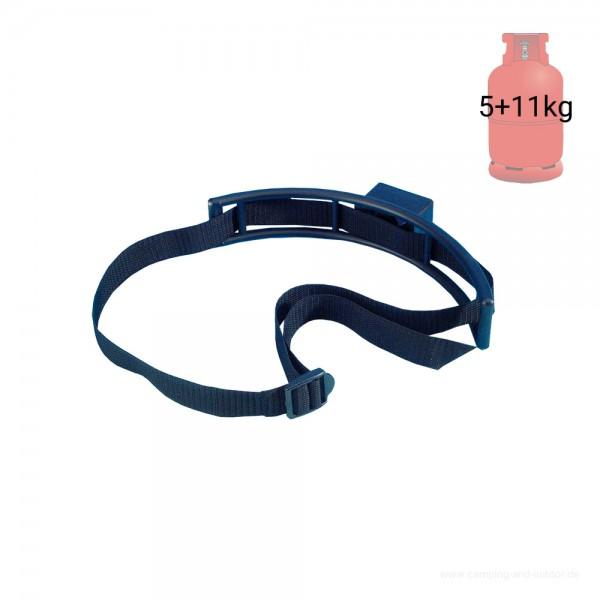 Gasflaschenhalter mit Gurt - Umkippschutz für 5+11kg Flaschen - Kunststoff, Nylongurt