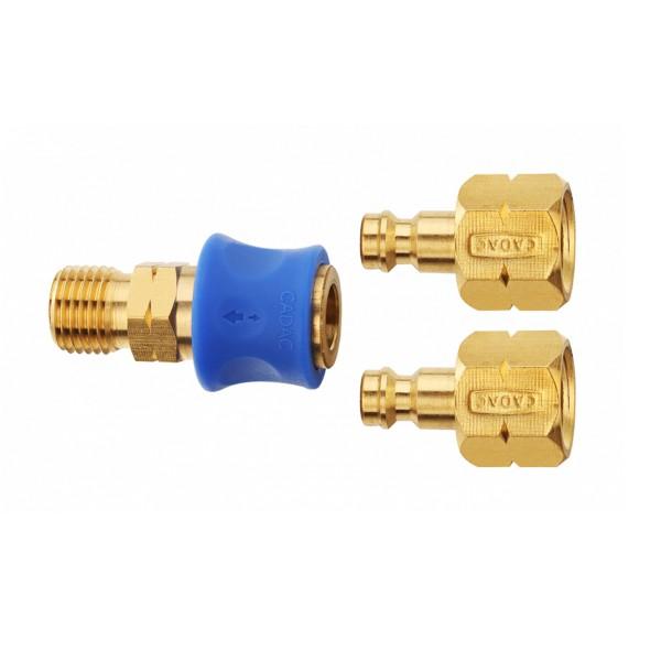 Quick Release Kupplung - Schnellkupplungs Set für Gasschläuche 1/4 Zoll links auf 2 x Stecknippel