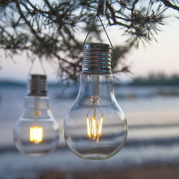 LED Solar XL Glühbirne - warmweißes Filament - H: 18cm - D: 10cm - Dämmerungssensor - outdoor