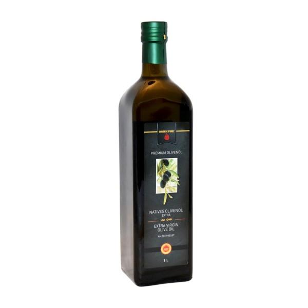 GREEK FIRE 1 Liter Olivenöl Nativ Extra, Glasflasche