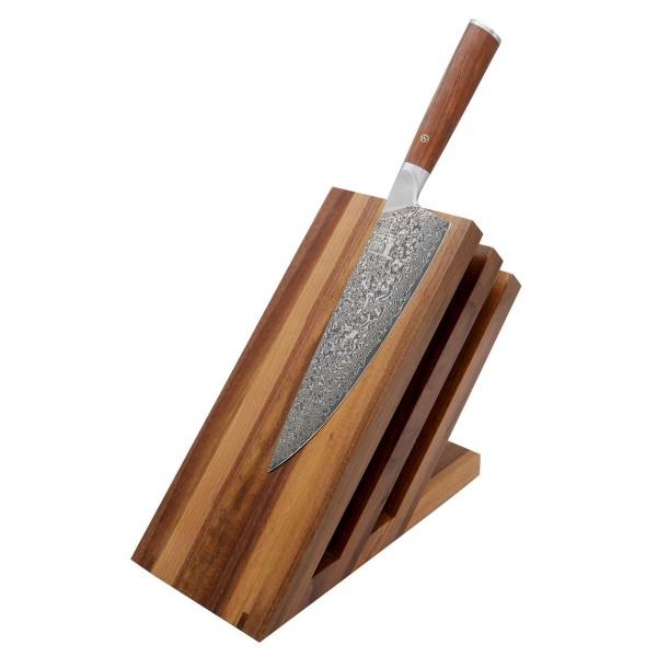 Magnetischer Messerblock Fächer aus Walnussholz - 23,5x12,5x21,5cm - für bis 6 Messer