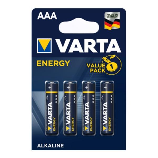 Varta Batterie Micro AAA - ENERGY ALKALINE - 4 Stück - Typ: LR03 - 1,5V