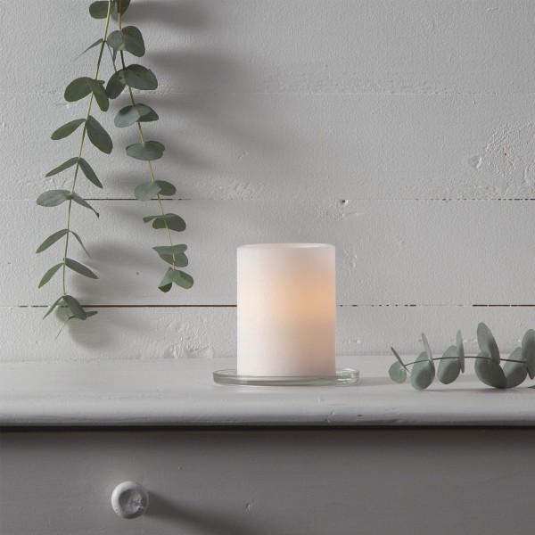 "LED Kerze ""Sharp"" - Echtwachs - gelb flackernde LED - Timer - H: 10cm, D: 7,5cm - creme"
