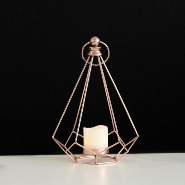 "LED Laterne ""Edge"" - warmweißes Licht - Batterie - Timer - H: 24cm, D: 16,5cm - inkl. Kerze - kupfer"