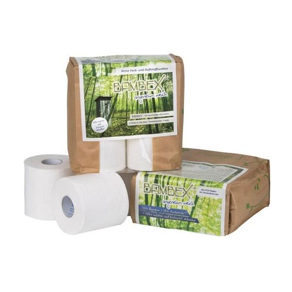 BAMBEX - Nachhaltiges Toilettenpapier für Campingtoiletten - keine Farb- und Duftzusätze - 4 Rollen