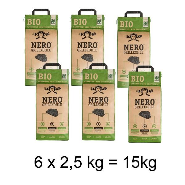 NERO BIO Grill-Holzkohle - 6 x 2,5kg Sack - Garantiert ohne Tropenholz - Holz aus Deutschland