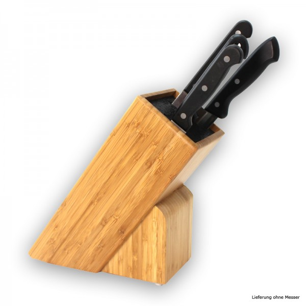 Messerblock Holz mit Einsatz - für Messer bis 22cm - Mit Kunststoffeinsatz