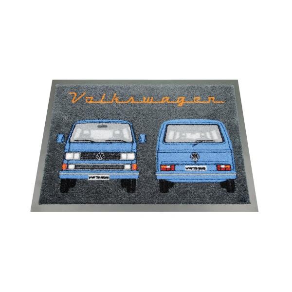 """Fußmatte """"VW T3 blau"""" - 70 x 50cm - 100% Nylon, waschbar, PVC Rücken - MADE IN EU"""