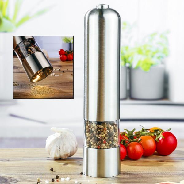 Salz-/Pfeffermühle - Edelstahl - Elektrisch - Lichtfunktion - Keramikmahlwerk - H: 22,5cm