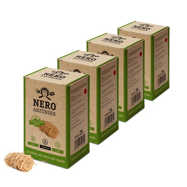 NERO Grillanzünder aus zertifizierter Forstwirtschaft - 100 Stück Holznester mit Wachs