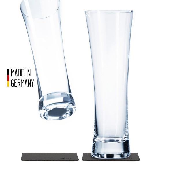 SILWY - Kristallgläser - 2er-Set + 2 Metall-Nano-Gel-Pads - Bier Gläser