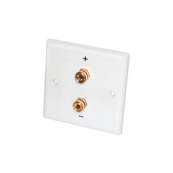 Lautsprecher Anschlussterminal Wand - 2 vergoldete Kontakte - 85x85mm