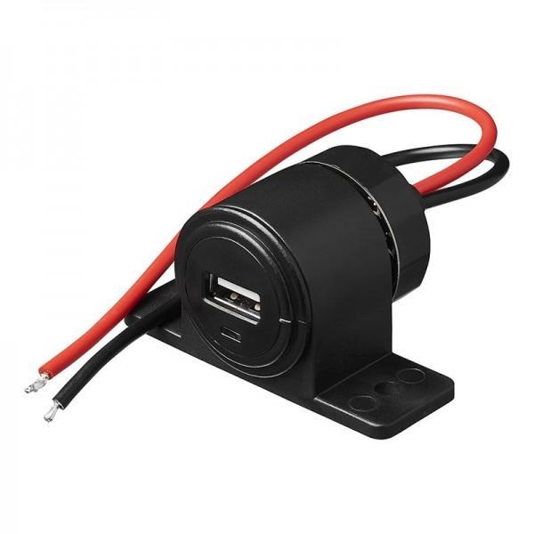 USB Aufbau-Steckdose 2100mA 12V/24V - Für Kfz/Boot