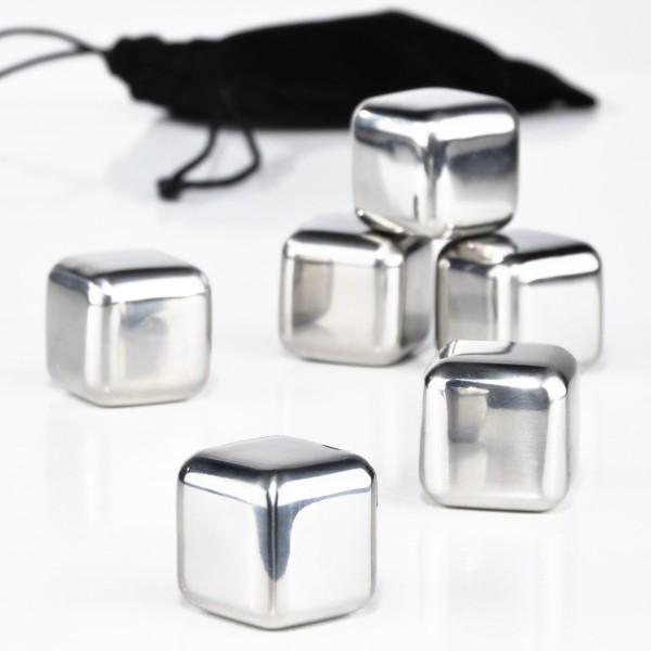 Edelstahl- Eiswürfel-Set - 6 Stück - im Beutel - Dauereiswürfel