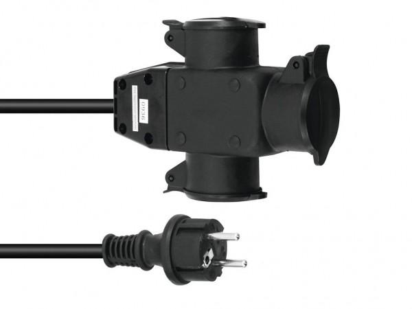 Stromkabel / Verlängerung   3-Fach   Schutzkontakt   Outdoor  3x1,5mm²   3m