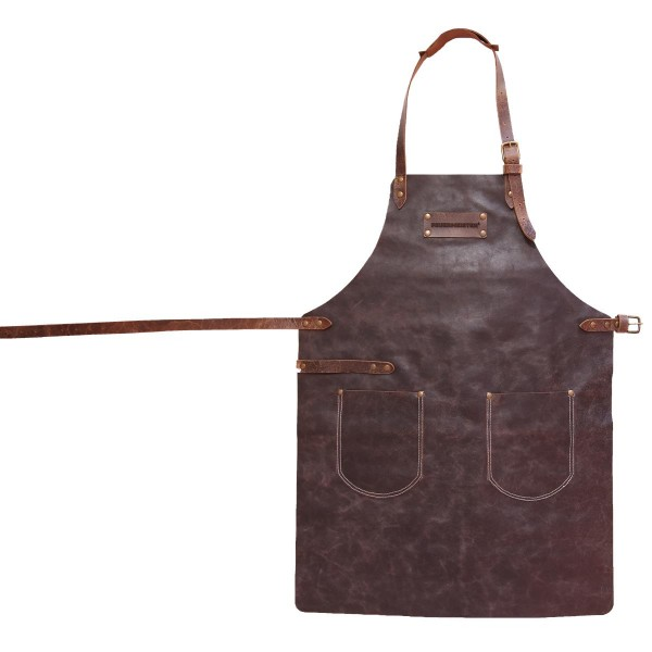 FEUERMEISTER Lederschürze in Antikleder Farbe Braun mit 2 Taschen Größe 2