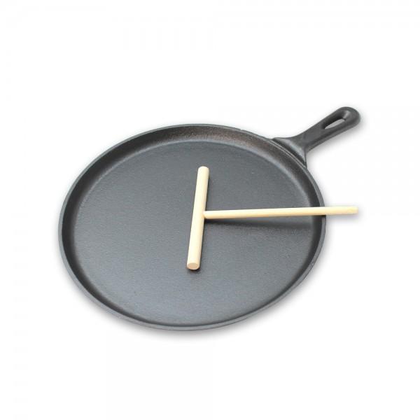 Crepe Set - Pfanne aus Gusseisen + Teigverteiler - 26,5cm Durchmesser - perfekter Nachtisch
