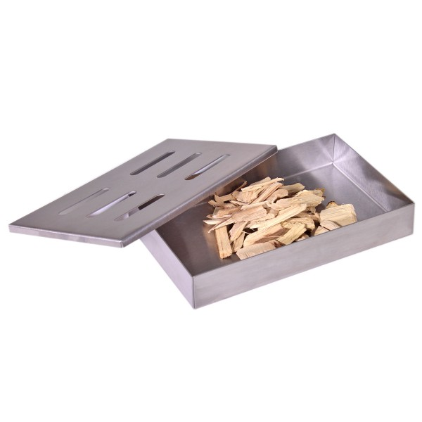 Smoker Box GRILL-EXPERTE - Räucherbox aus Edelstahl - 21 x 13 x 3,5cm