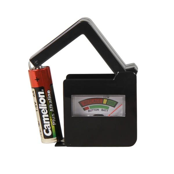 """Batterietester """"KRALLE"""" - für alle 1,5V Batterien und Knopfzellen"""