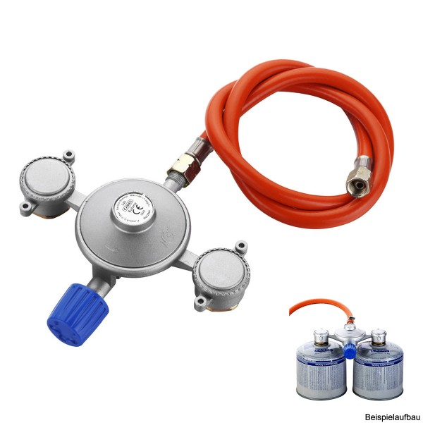 CADAC Dual-Power-Pak - Adapter für 2 Gaskartuschen - 30mbar - inkl. 85cm Schlauch