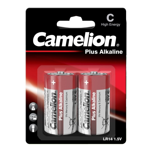 Camelion Batterie Baby C - 2 Stück - Typ: LR14 - 1,5V - Plus Alkaline - High Energy