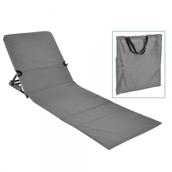 Strandliege klappbar grau - inkl. praktischer Umhängetasche - 145 x  47 x 42cm