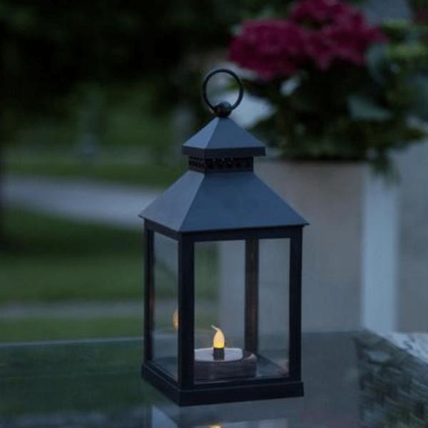 "LED Solar Laterne ""Agra"" - gelbe LED - H: 23cm, D: 11cm - Dämmerungssensor - outdoor - schwarz"