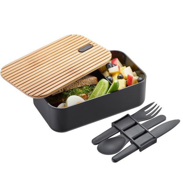 Lunchbox ENVIRO - umweltfreundliche Lunchbox mit 3tlg. Besteck - 1 Liter, Trennsteg, Bambusbasis