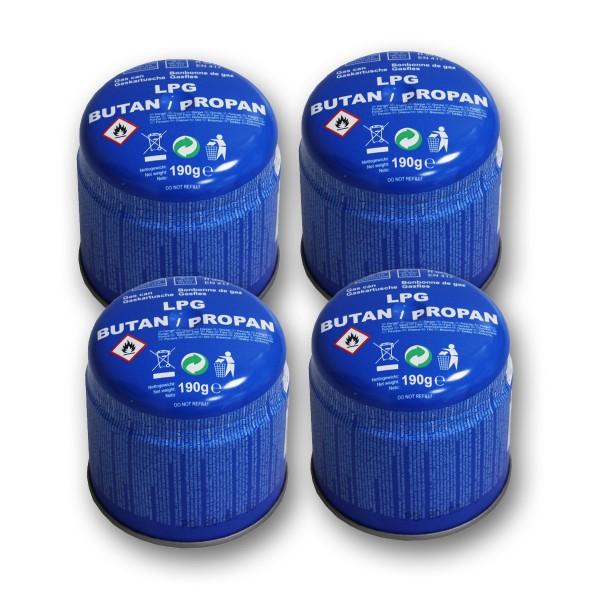 4 x Gaskartusche Butan/Propan - 190g - Universal Gas - Stechkartusche