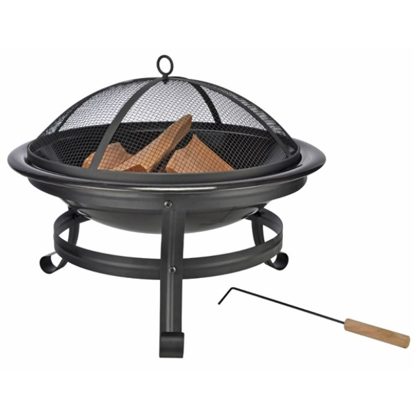 Feuerstelle mit Funkenschutzhaube - 55cm Feuerschale - Stahl - inkl. Schürhaken