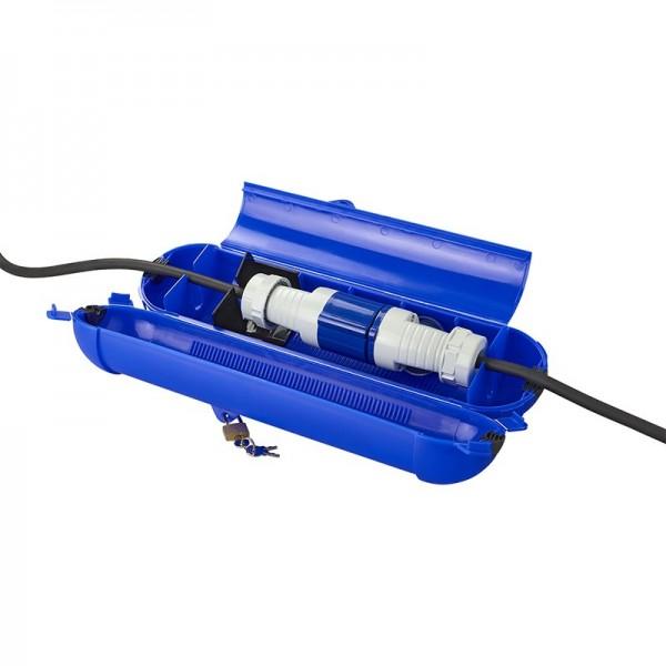 Kabelsafe für CEE Stecker - wetterfest - mit Schloss und Schlüssel - Cable Lock - blau