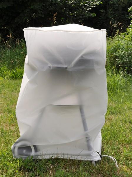 Abdeckhaube für Grills (90x60x115cm) - wetterfeste, weiße PE Folie - mit Kordel