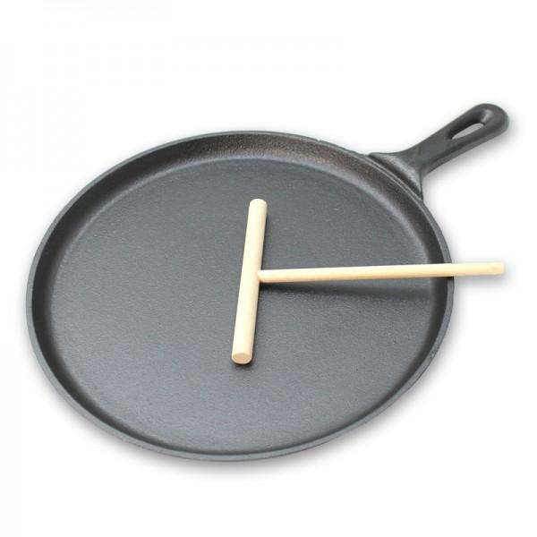 Crepes Set - Pfanne aus Gusseisen + Teigverteiler - 26,5cm Durchmesser - perfekter Nachtisch
