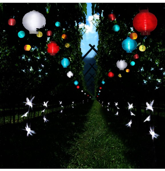 "LED Solar Lampion ""Festival"" - kaltweiße LED - D: 20cm - Dämmerungssensor - mit Montagehaken - blau"