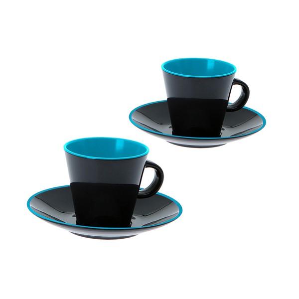 """GIMEX GreyLine """"grau-blau"""" - Espresso Set 2 Personen - bruchfestes Melamin Campinggeschirr"""