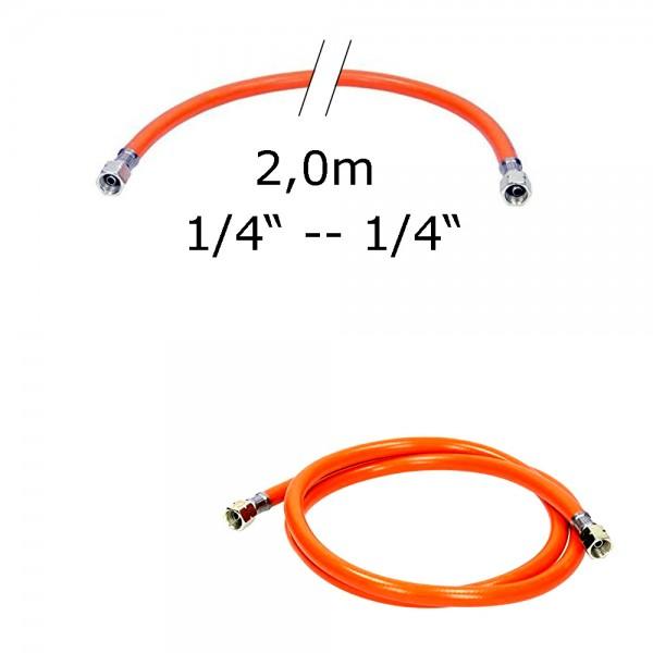 """Gasschlauch 2,0m - Mitteldruck 6,3x3,5mm; Gummi + Gewebeeinlage - 1/4"""" auf 1/4"""" Überwurfmutter"""