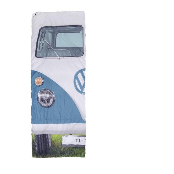 VW Collection - T1 Bulli Schlafsack blau - 2 Jahreszeiten - +5°C bis +15°C - wasserdichtes Pongee Gewebe
