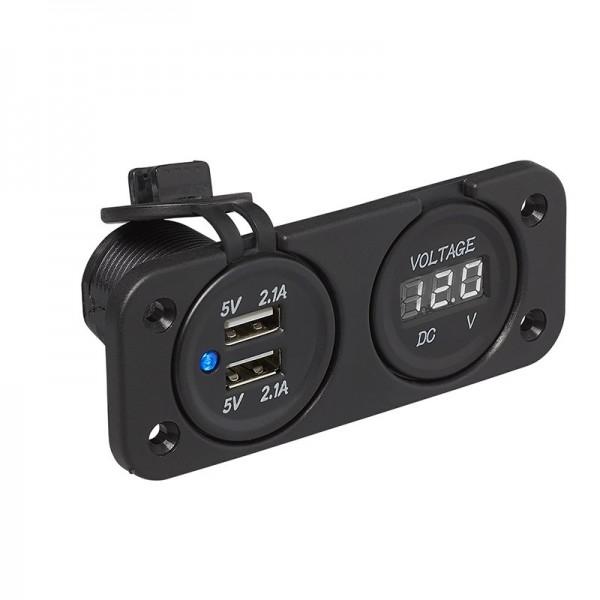 Einbau Kit: Voltmeter 6-30V + USB Doppel-steckdose 2x2100mA
