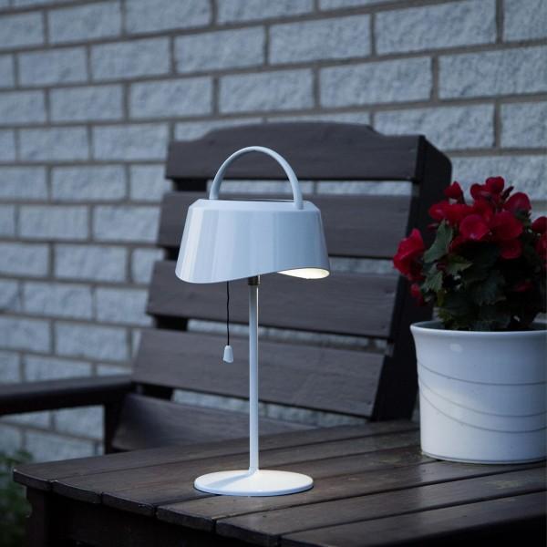 LED Tischleuchte mit Solarpanel und Batterie - 40lm - H: 36cm - outdoor - weiß
