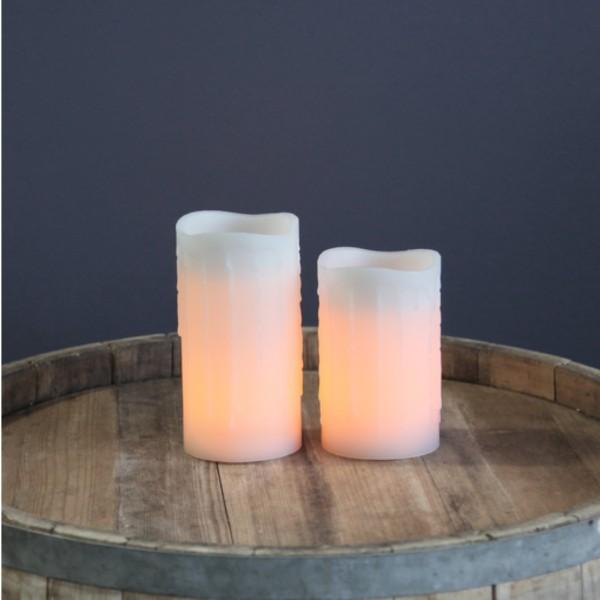 """LED Kerze """"Drip"""" - Echtwachs - flackernde LED - mit Kunstdocht - Timer - H: 12,5cm - weiß"""