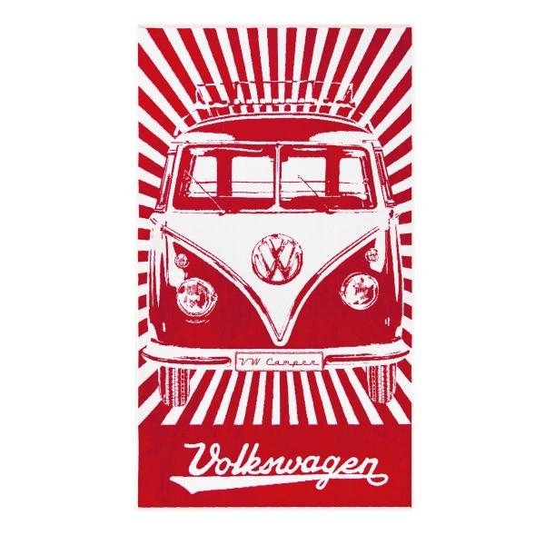 Strandtuch VW Bulli T1 rot - 100% Baumwolle 420g/m² Jaquard Qualität - 190 x 90cm