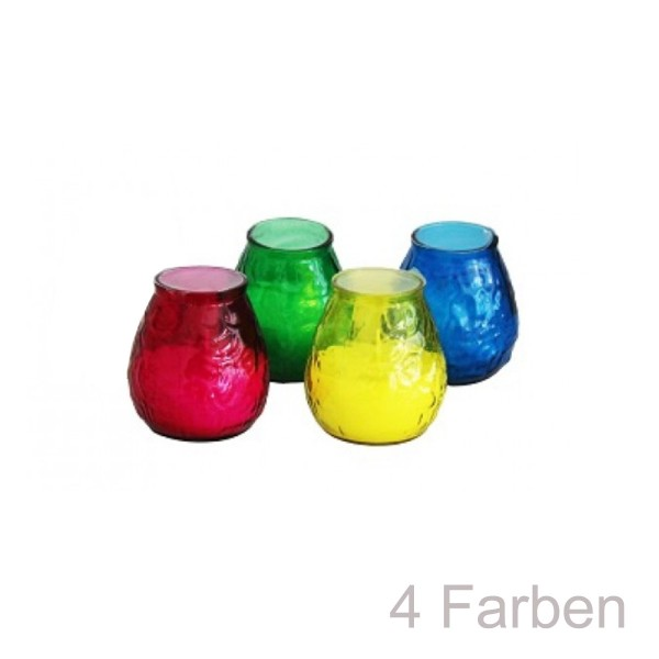 4er Set Kerzen im bunten Glas - Citronella - gegen Stechmücken - +/-50 Stunden
