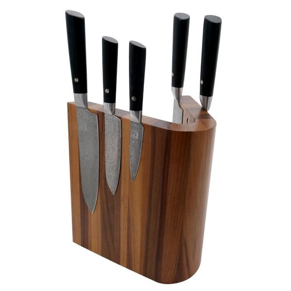 Magnetischer Messerblock gebogen aus Walnussholz - 22x21x26cm - für bis 10 Messer