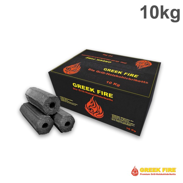 BIG PACK - GREEK FIRE Premium Grill Holzkohlebriketts 10 kg - BBQ Briketts