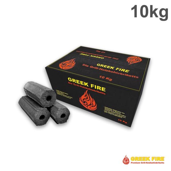 GREEK FIRE Premium Grill Holzkohlebriketts 10kg - BBQ Briketts