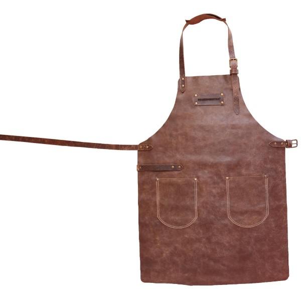 FEUERMEISTER® Lederschürze in Antikleder Farbe Cognac mit 2 Taschen Größe 2