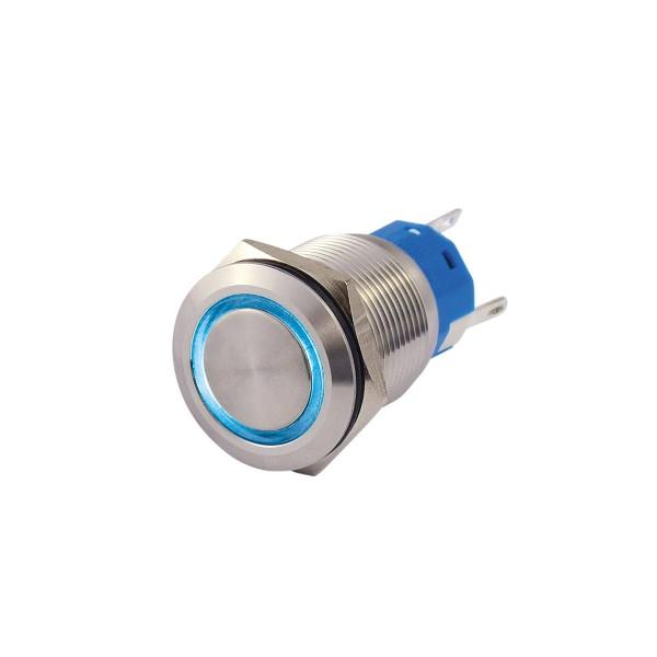 Metallschalter beleuchtet - mit blauem Leuchtring - max 230V 5A - IP67 - 19mm Einbaudurchmesser