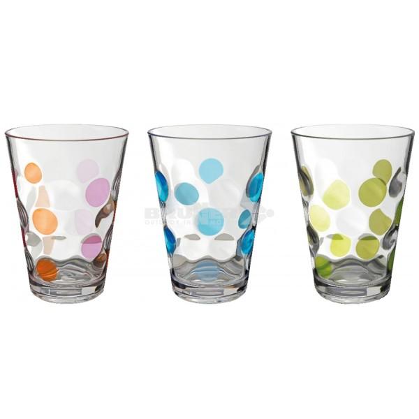 Trinkgläser BALOONS - 3er Set - 3 Farben - bruchfestes SAN- 350ml