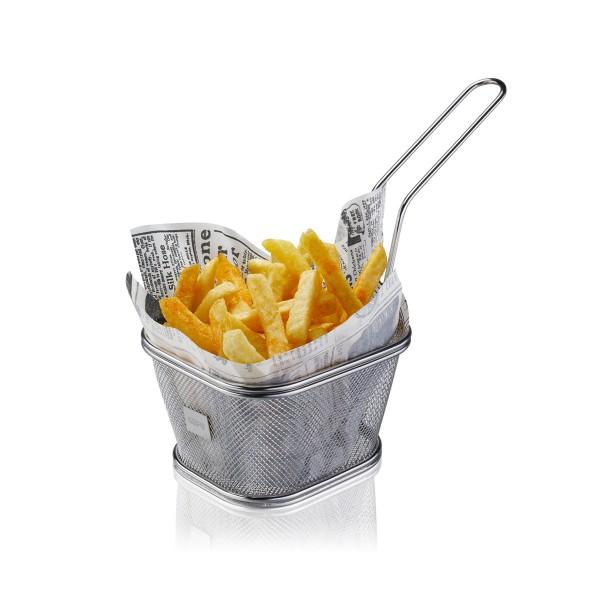 Mini Servierkorb BBQ - groß - für Pommes, Kartoffelwedges, Zwiebelringe, Grillgemüse, Shrimps