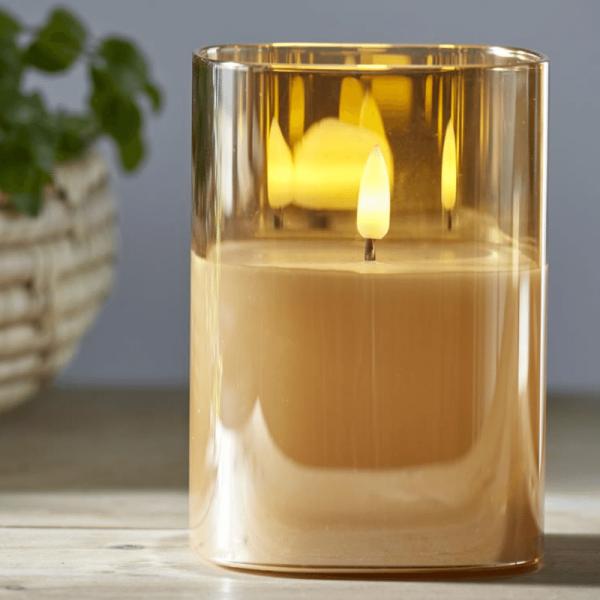 """LED Windlicht """"Flamme"""" - Echtwachs - bewegte, gelbe Flamme - Timer - H: 12,5cm - goldbraunes Glas"""